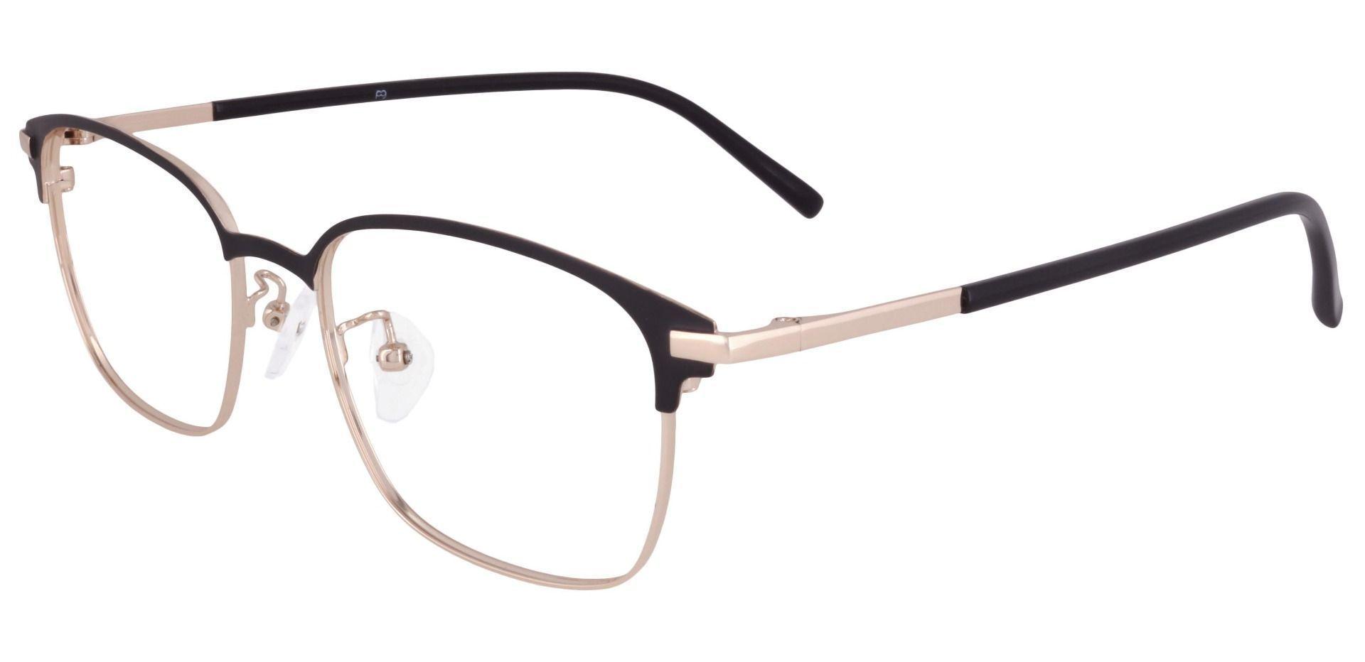 Scotland Browline Prescription Glasses - Matte Black/gold