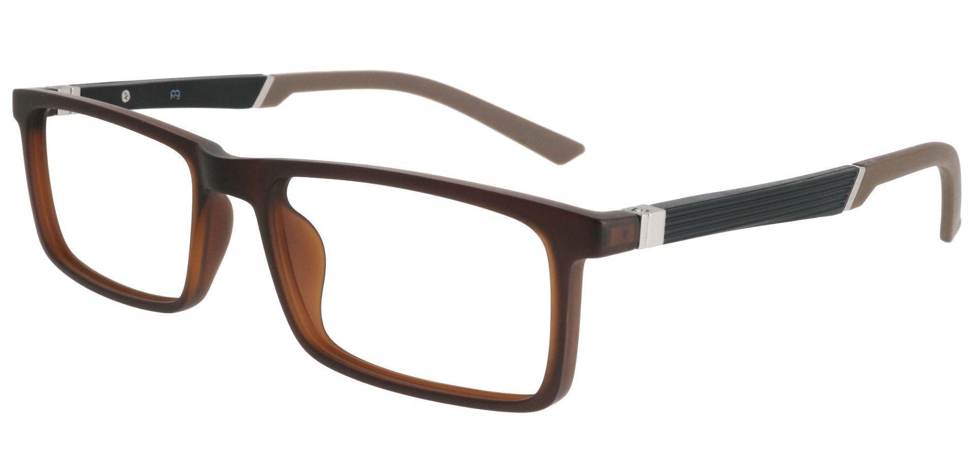 Ronan Rectangle Prescription Glasses - Matte Brown
