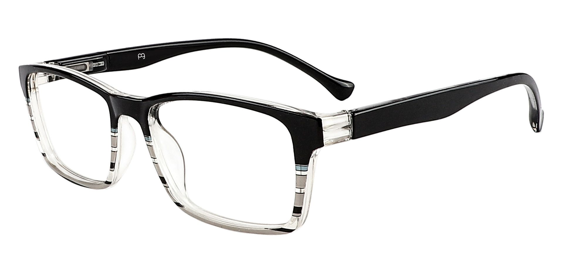 Booth Rectangle Lined Bifocal Glasses - Black