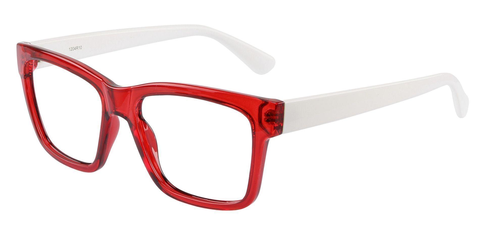 Brinley Square Eyeglasses Frame - Red Crystal/White Temple