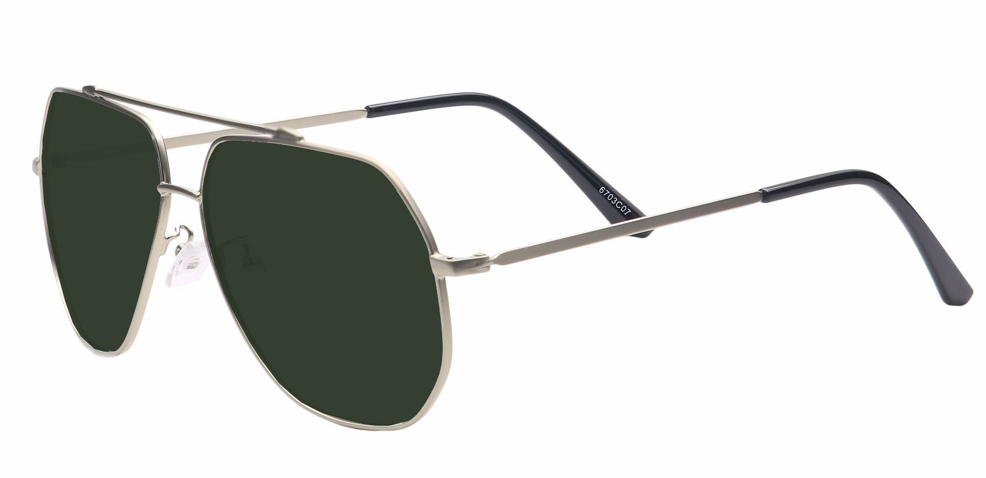 Flair Aviator Single Vision Sunglasses - Gray Frame With Green Lenses