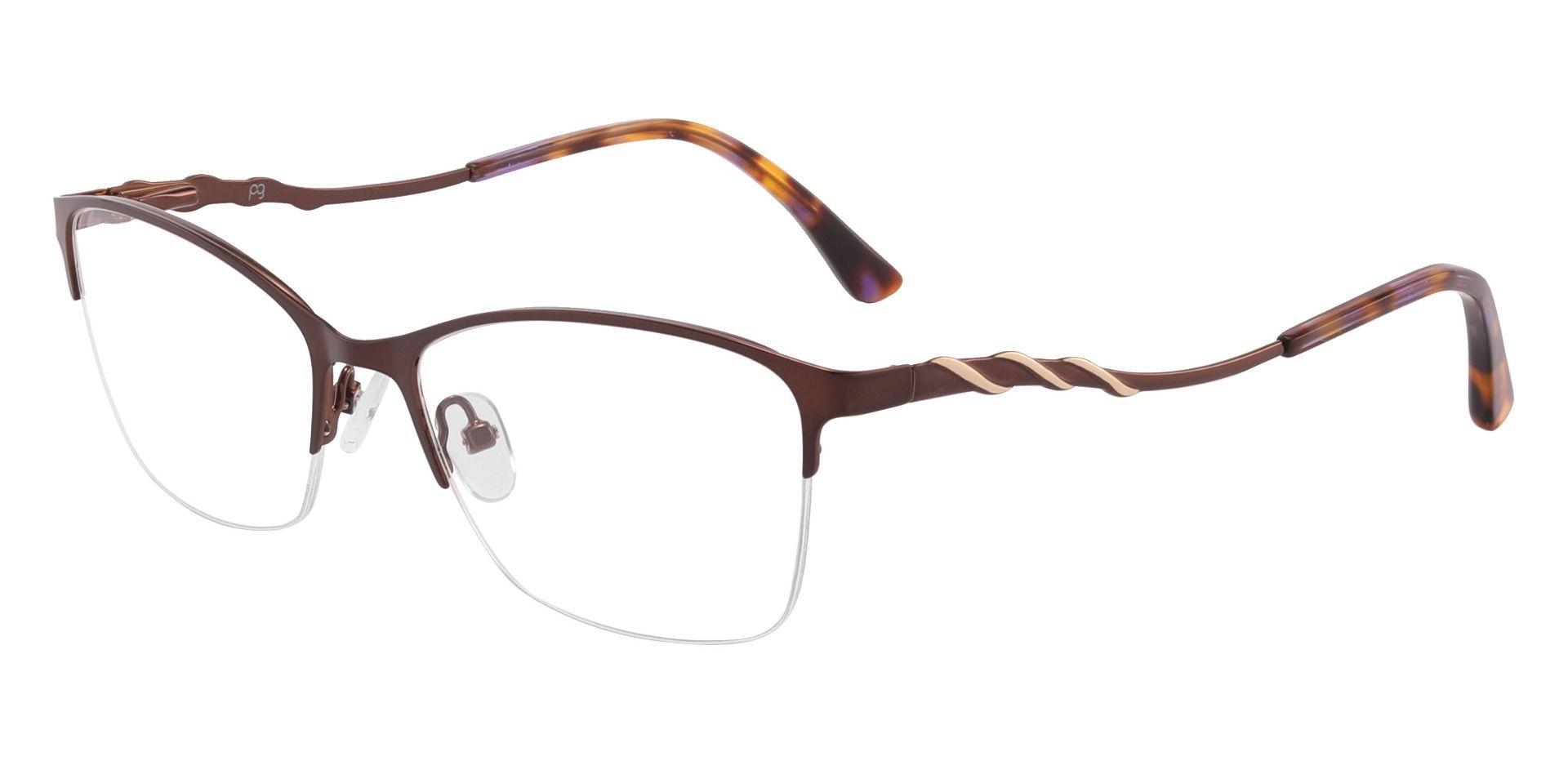 Milan Browline Prescription Glasses - Brown