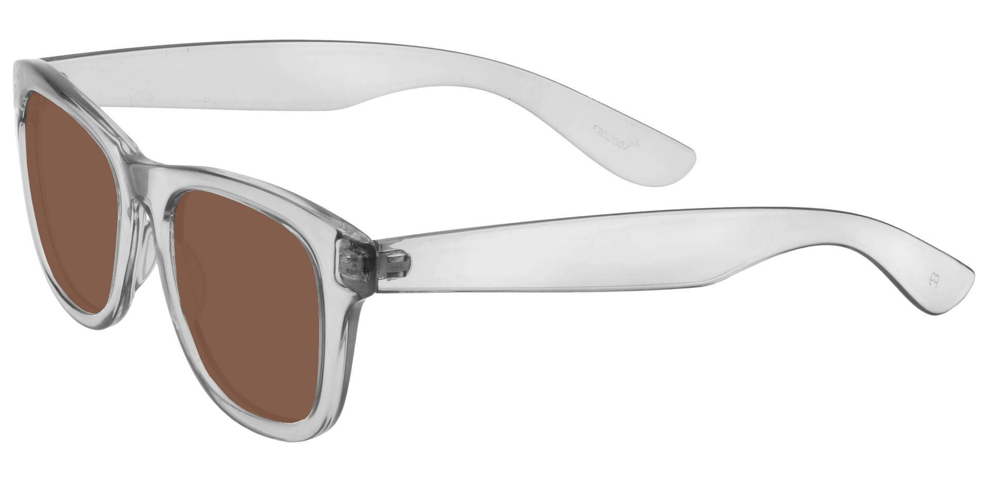 Tyre Square Prescription Sunglasses - Clear Frame With Brown Lenses