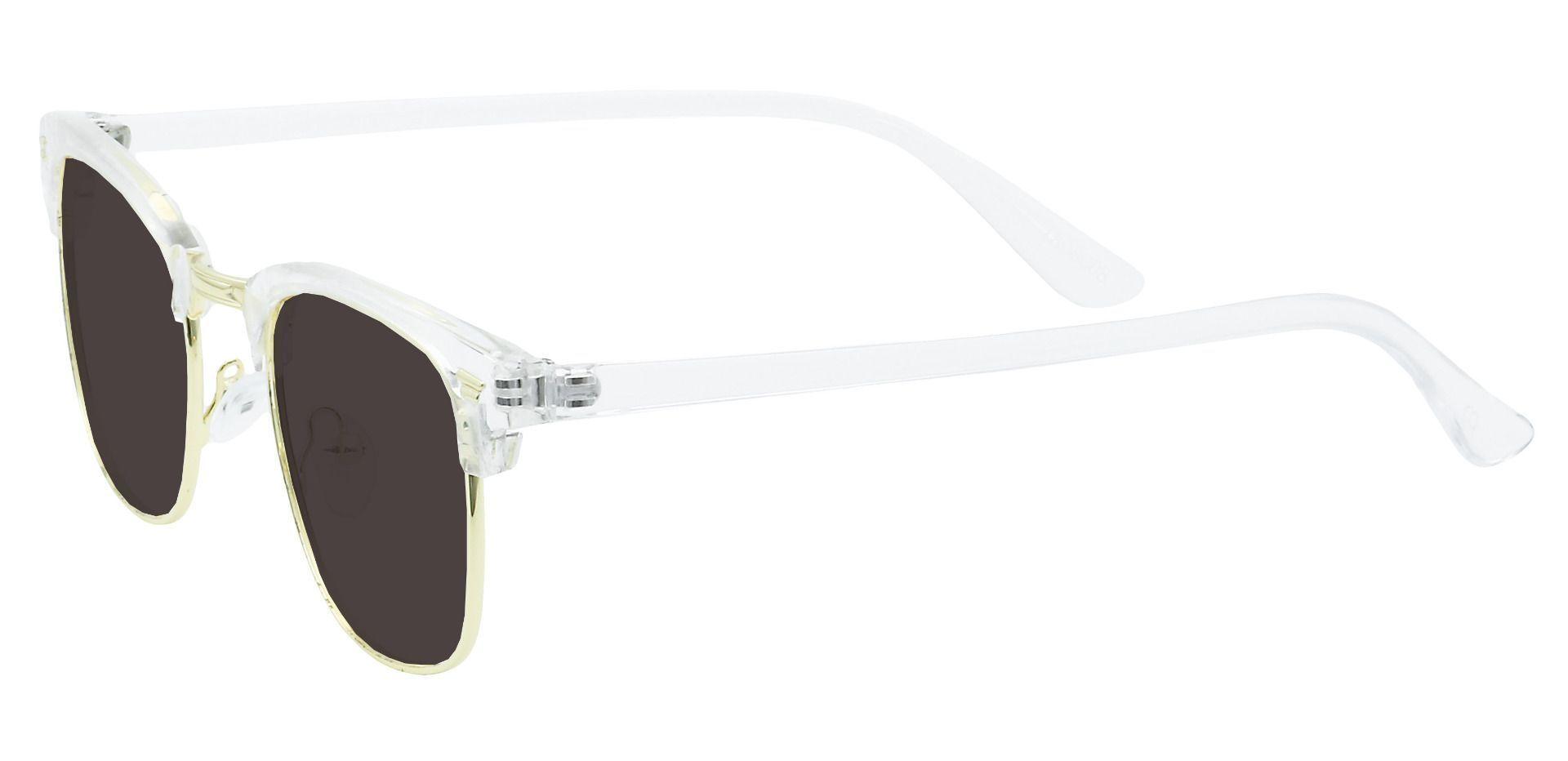 Ella Browline Prescription Sunglasses - Clear Frame With Gray Lenses