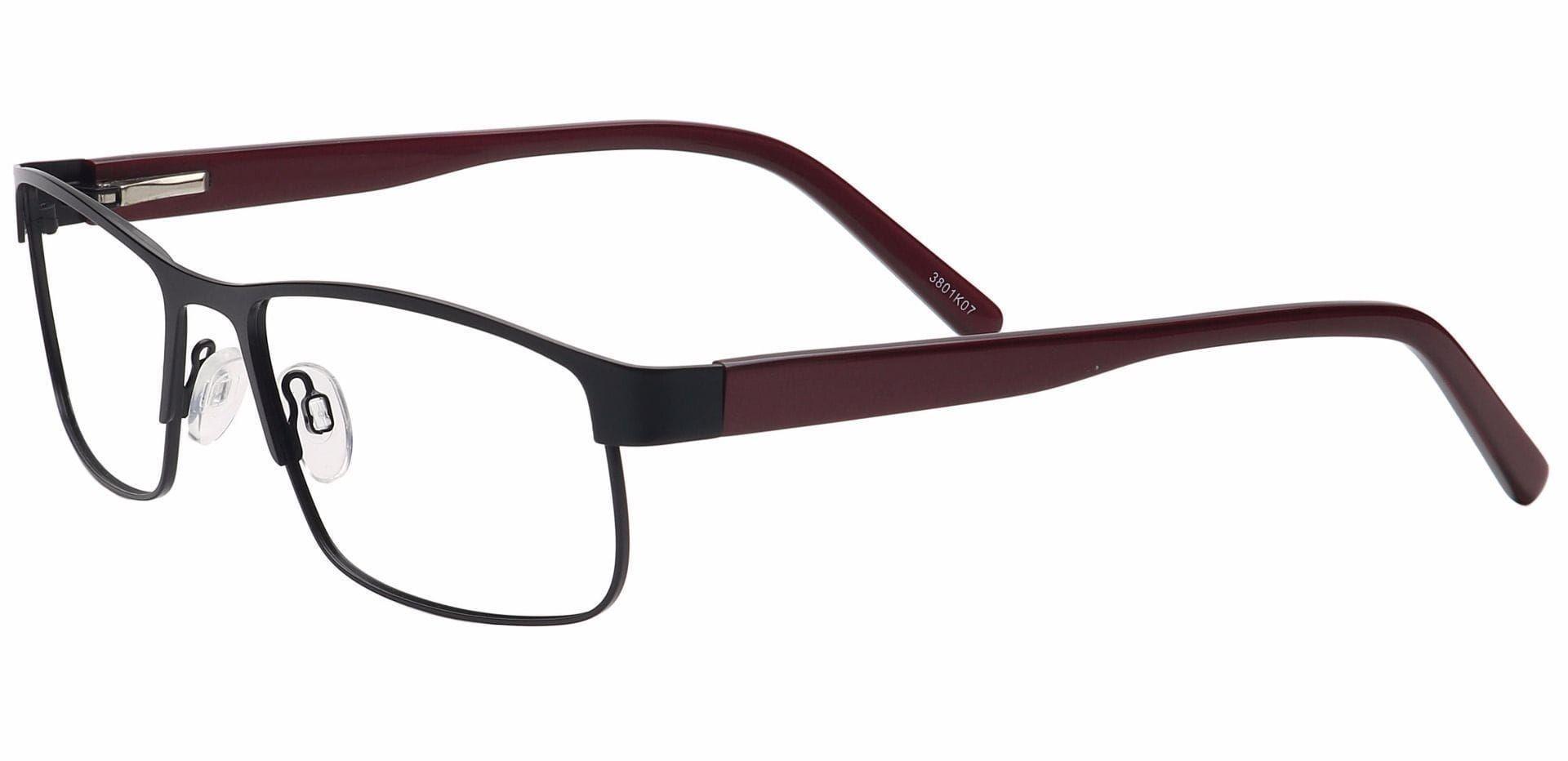 Taun Rectangle Eyeglasses Frame - Black