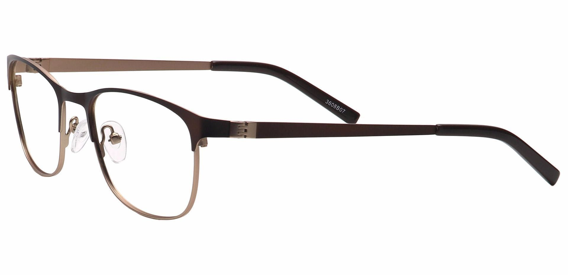 Tona Rectangle Blue Light Blocking Glasses - Brown
