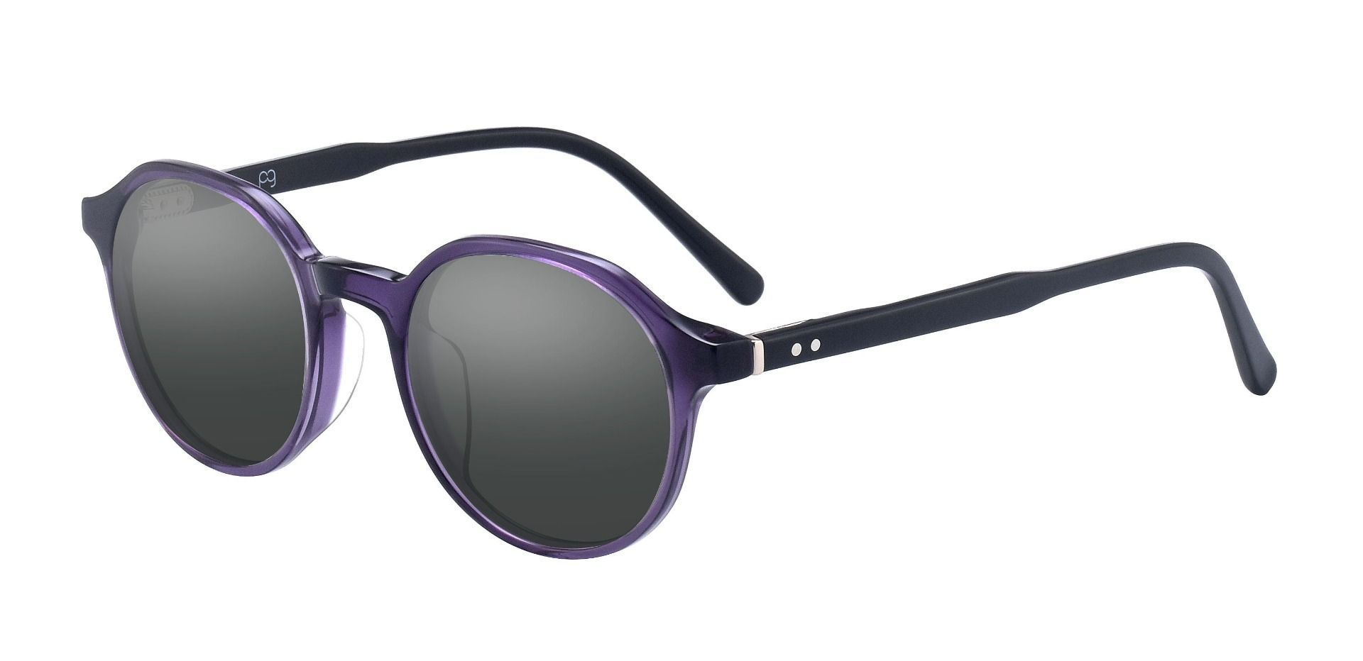 Millie Oval Prescription Sunglasses - Purple Frame With Gray Lenses