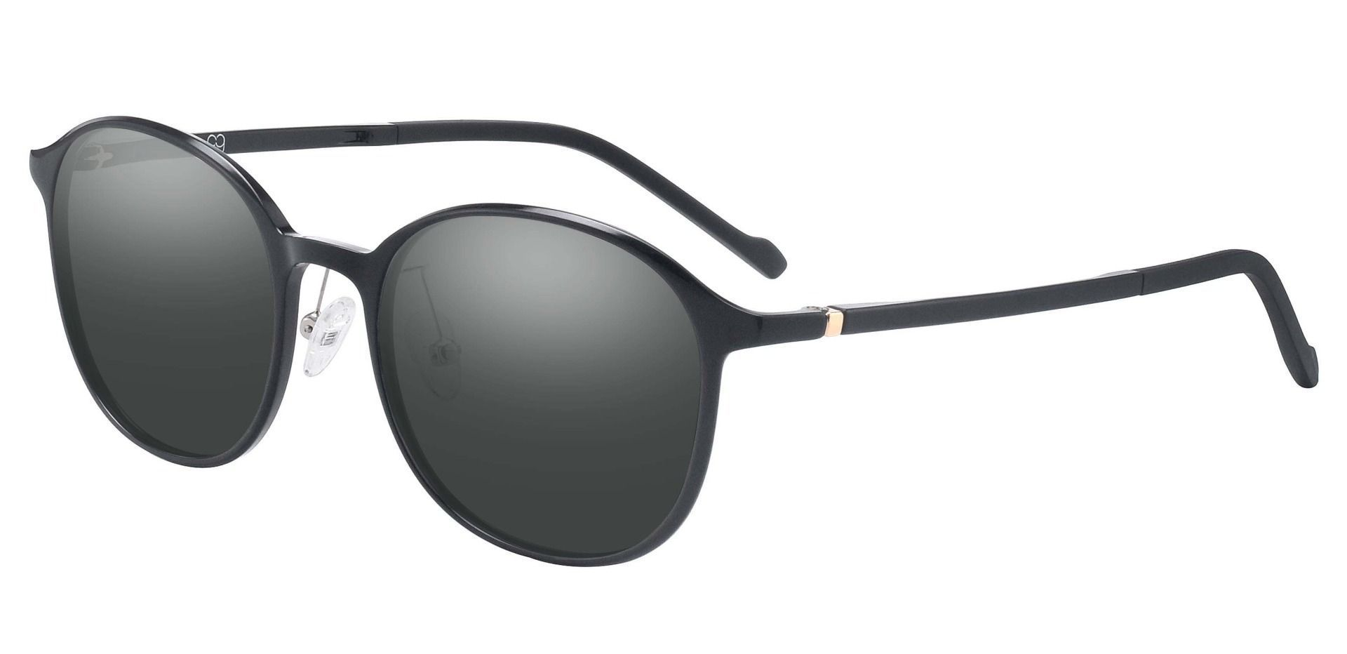 Stout Oval Prescription Sunglasses - Black Frame With Gray Lenses