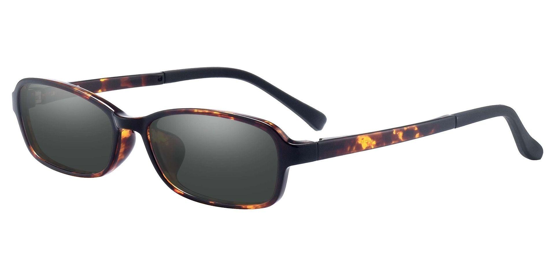 Hollis Rectangle Prescription Sunglasses - Tortoise Frame With Gray Lenses