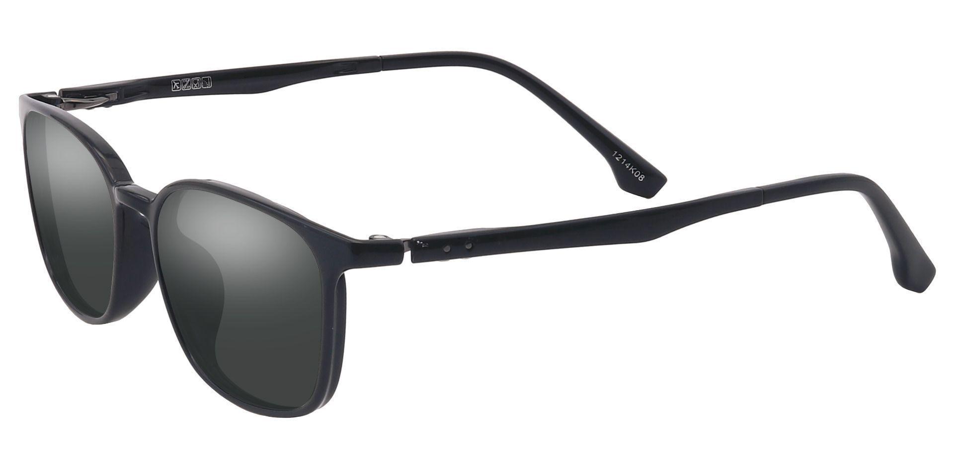 Plateau Oval Prescription Sunglasses - Black Frame With Gray Lenses