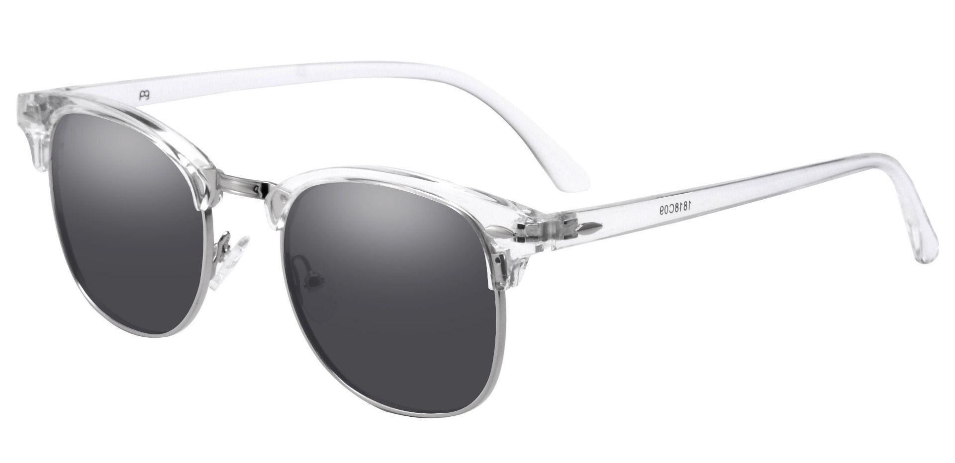 Salvatore Browline Prescription Sunglasses - Clear Frame With Gray Lenses