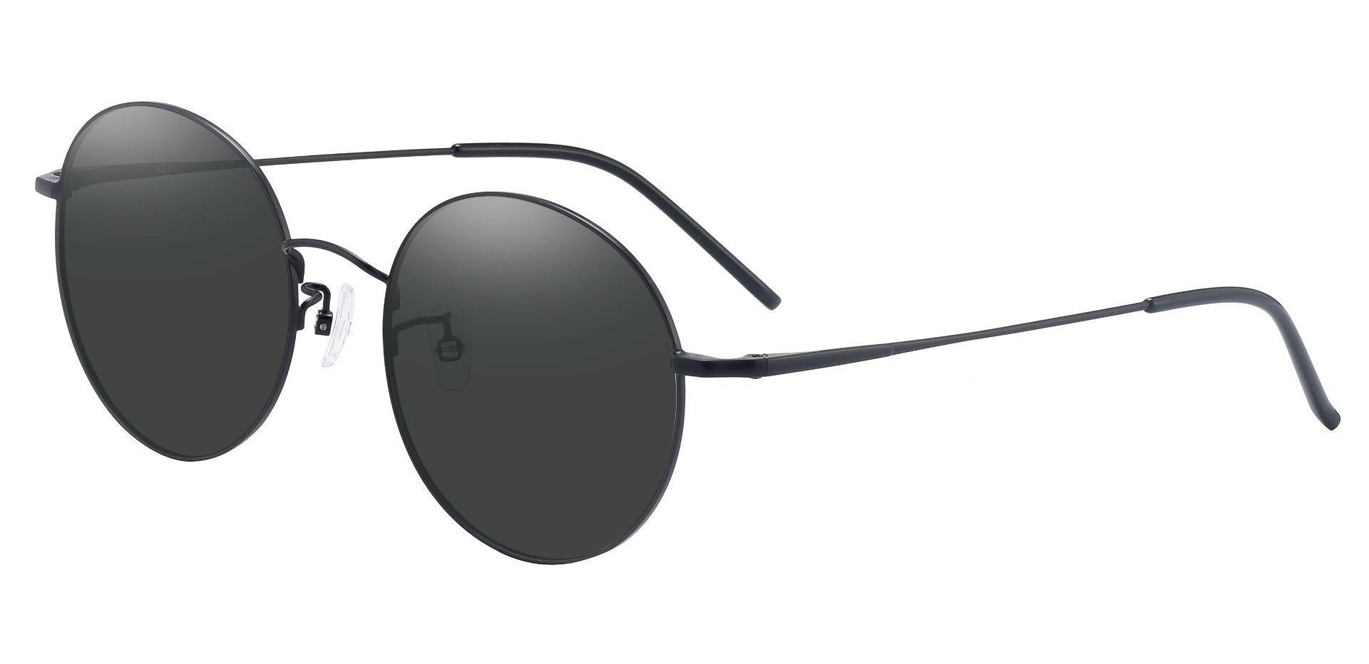 Bravo Round Prescription Sunglasses -  Black Frame With Gray Lenses