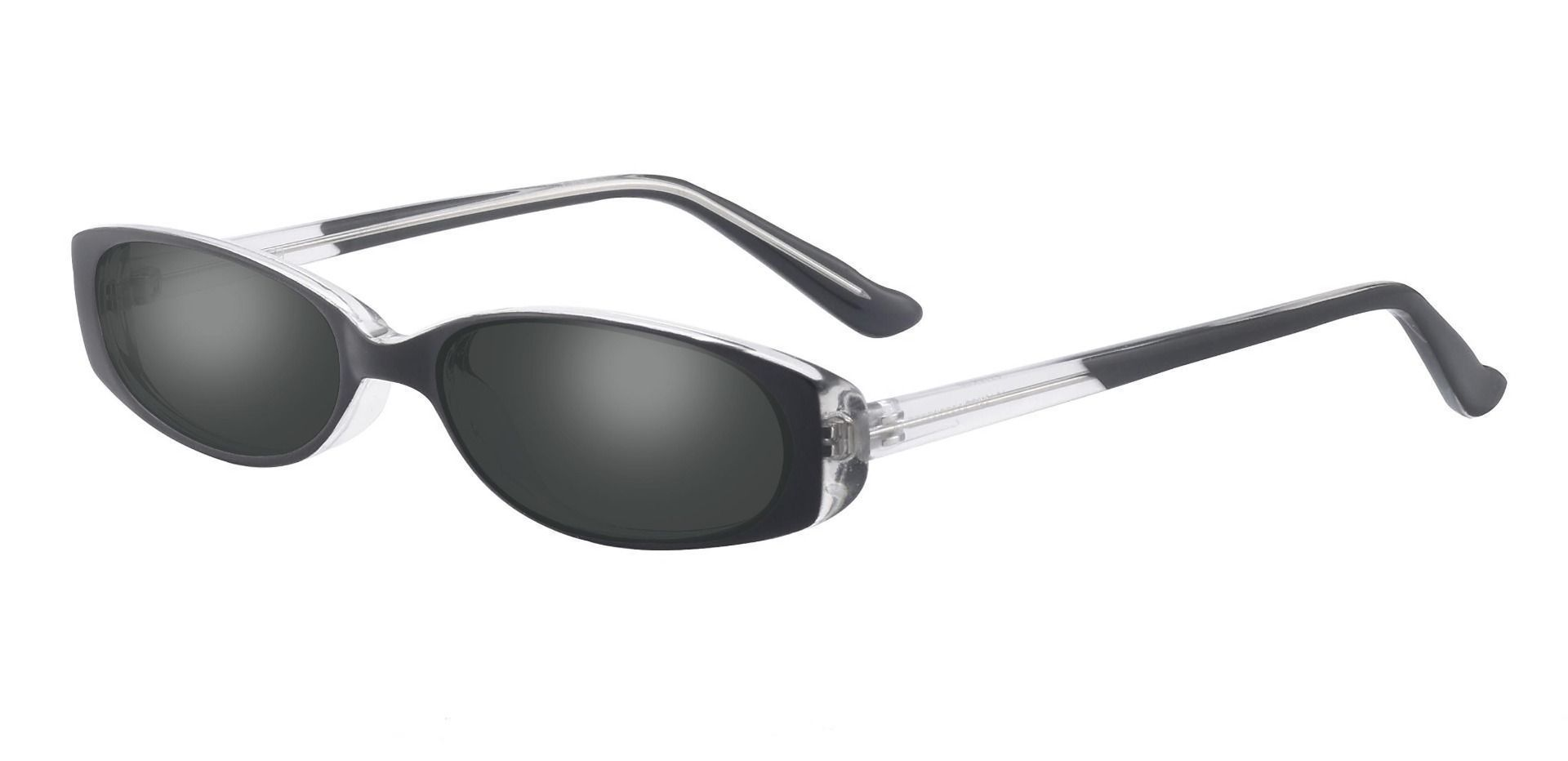 Venetia Oval Single Vision Sunglasses - Black Frame With Gray Lenses