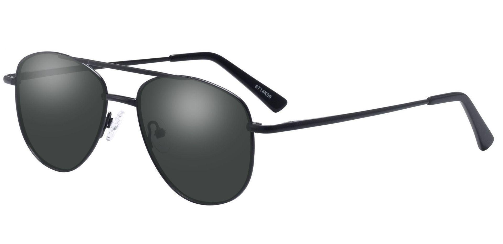 Dwight Aviator Prescription Sunglasses - Black Frame With Gray Lenses