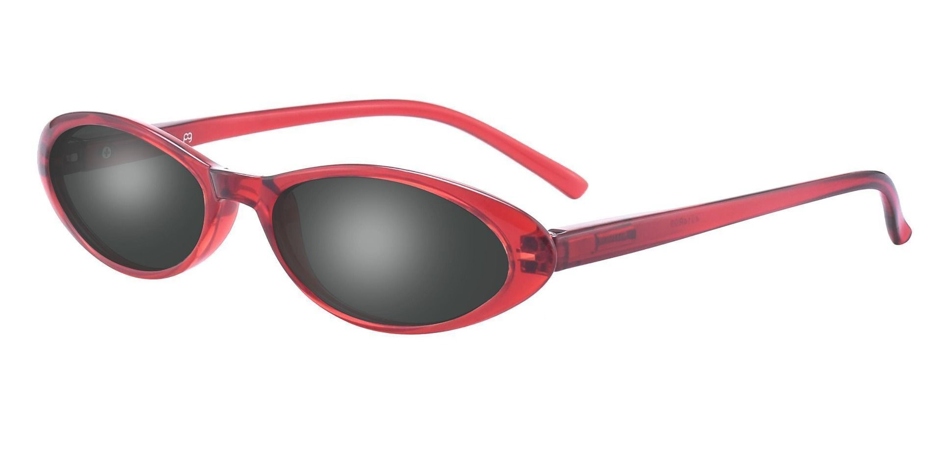 Darcie Cat-Eye Single Vision Sunglasses -  Red Frame With Gray Lenses