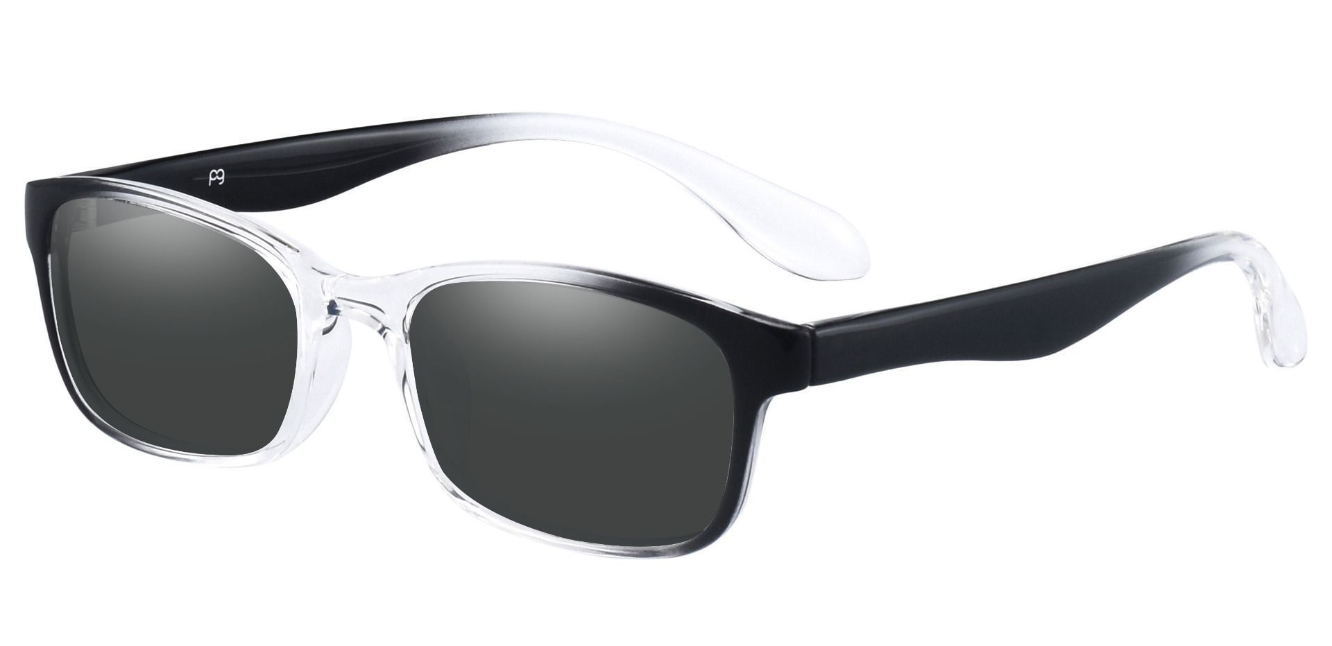 Amos Rectangle Prescription Sunglasses - Clear Frame With Gray Lenses