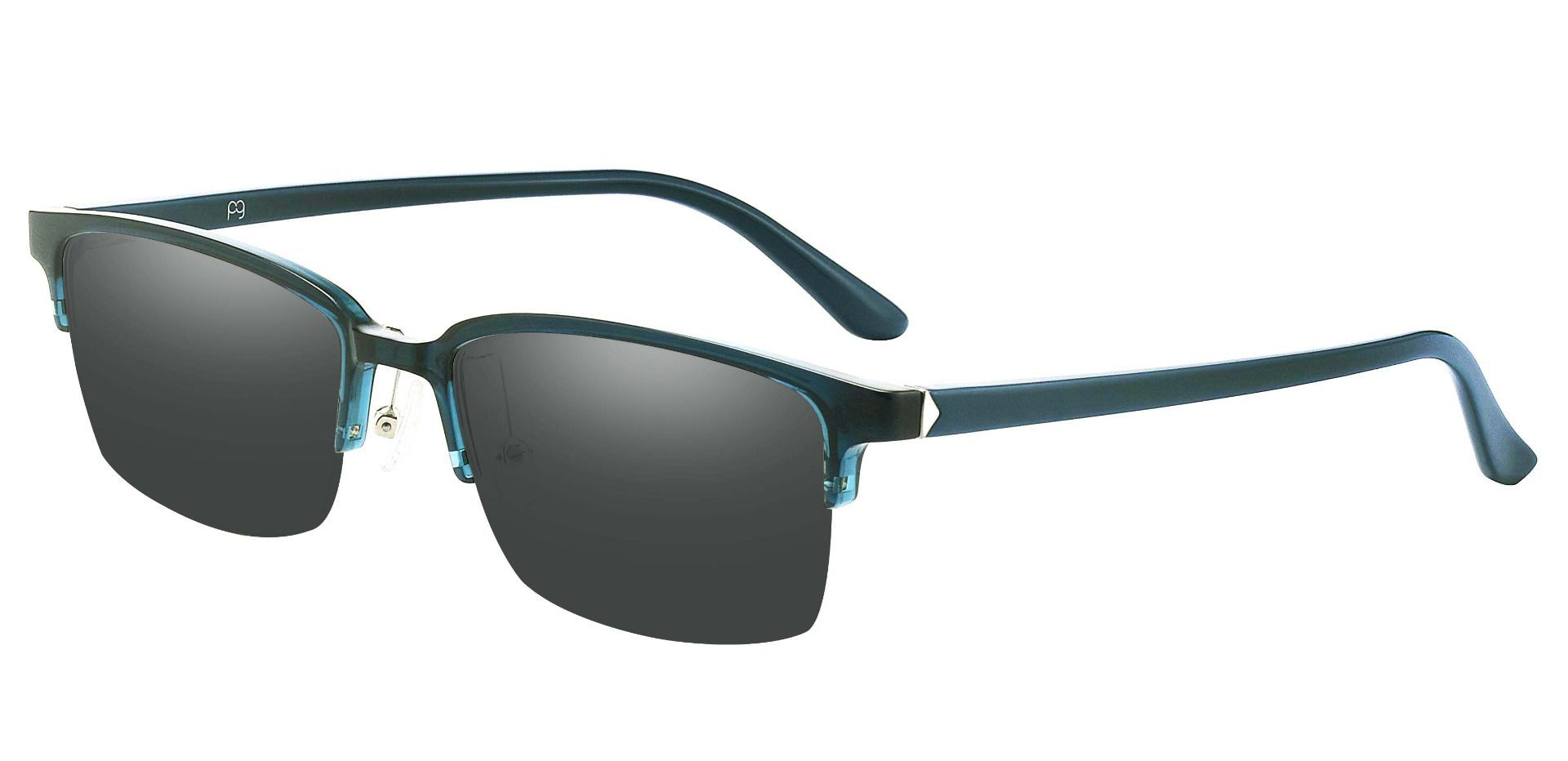 Cello Rectangle Prescription Sunglasses - Blue Frame With Gray Lenses