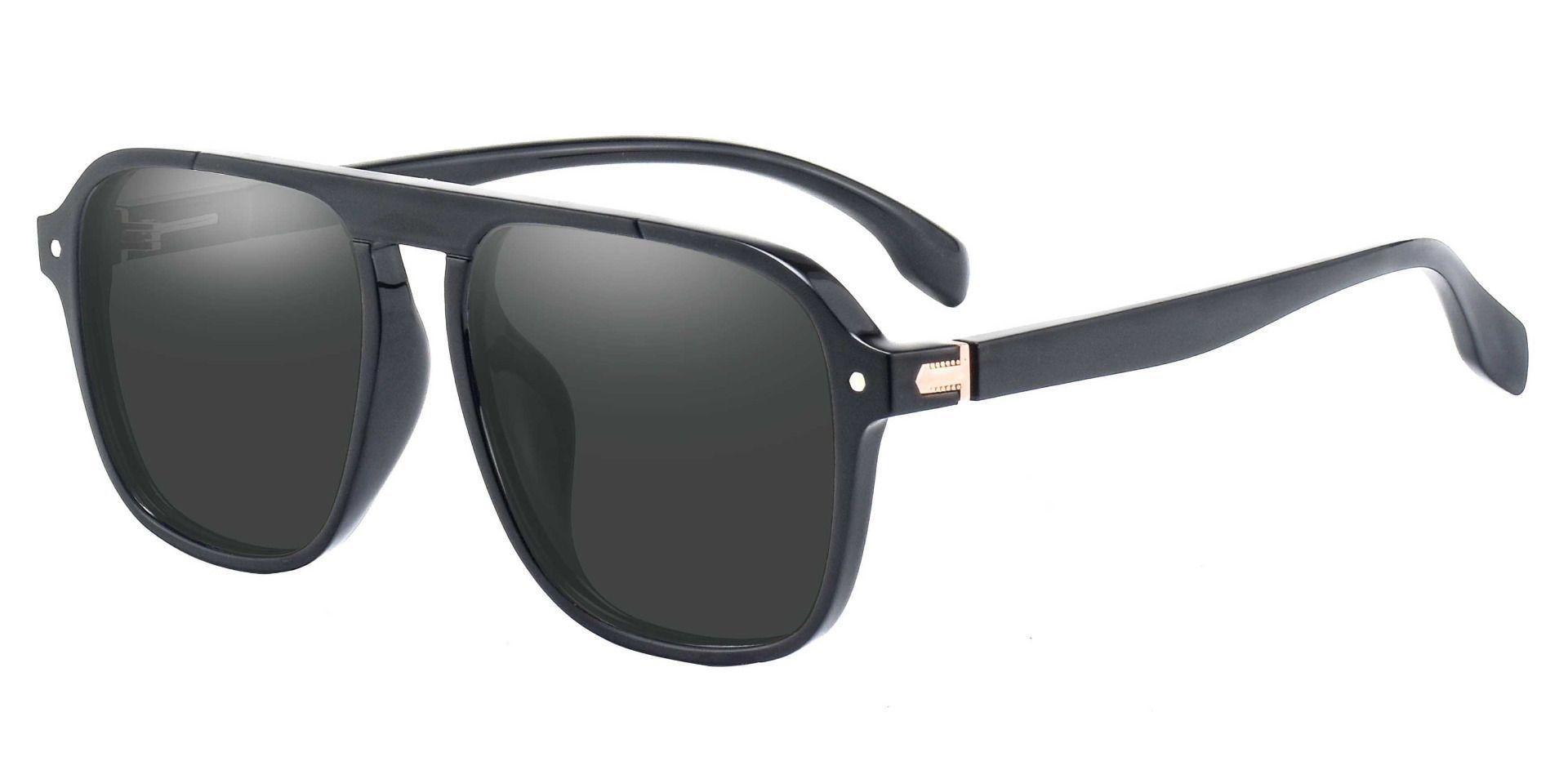 Gideon Aviator Reading Sunglasses - Black Frame With Gray Lenses