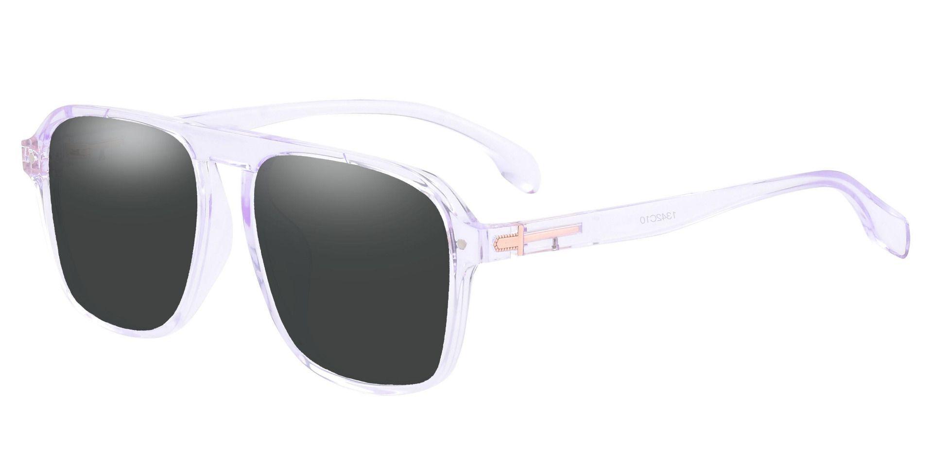 Gideon Aviator Prescription Sunglasses - Clear Frame With Gray Lenses