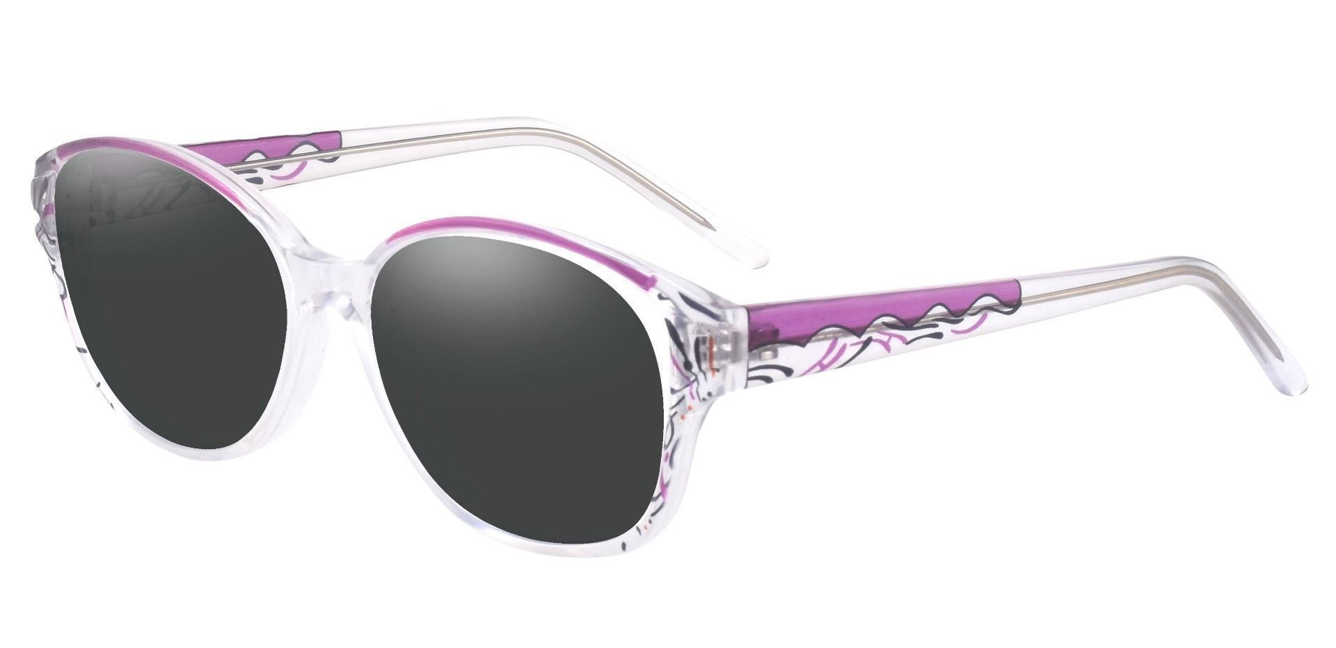Price Oval Prescription Sunglasses - Purple Frame With Gray Lenses