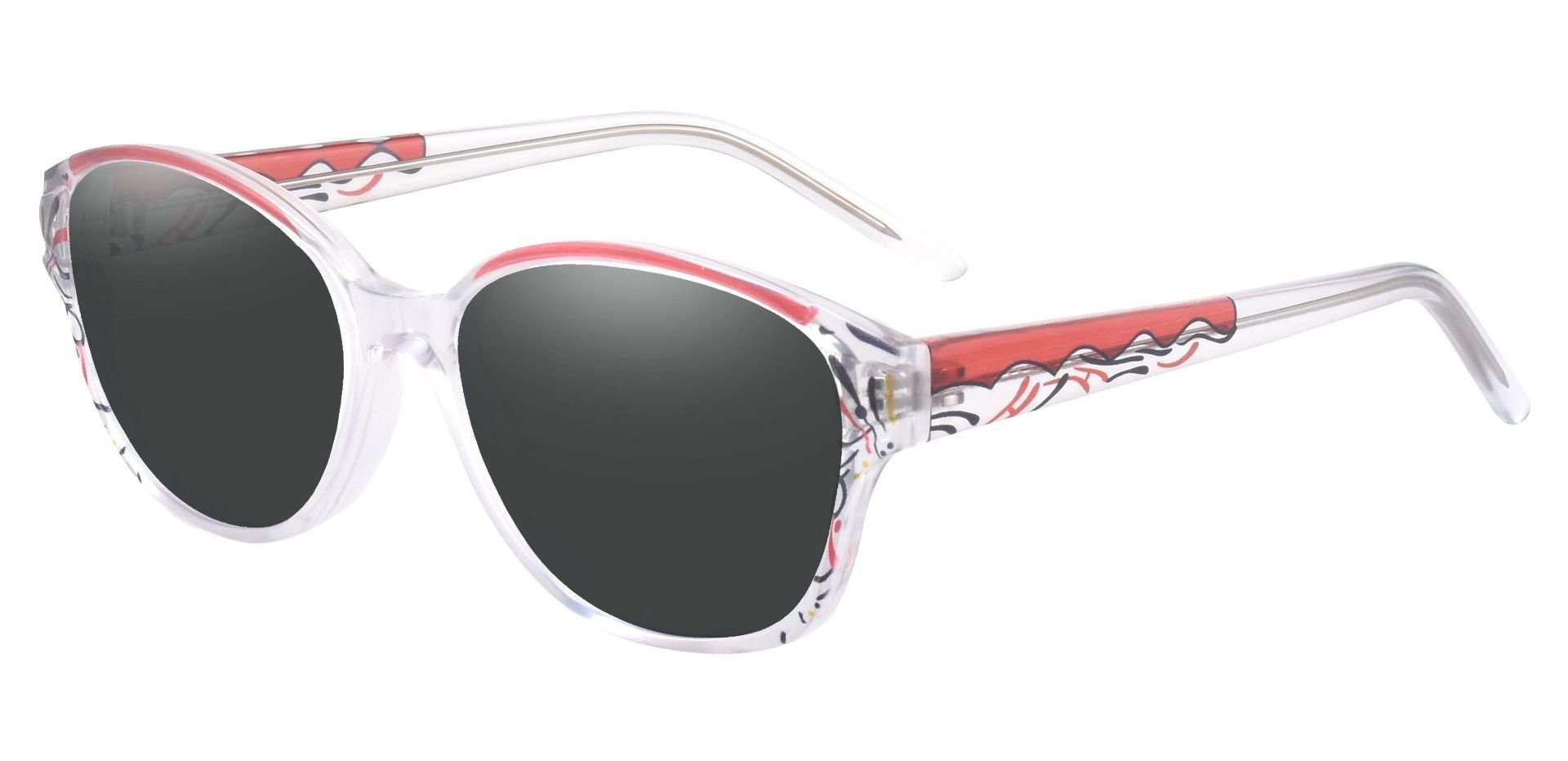 Price Oval Prescription Sunglasses - Red Frame With Gray Lenses