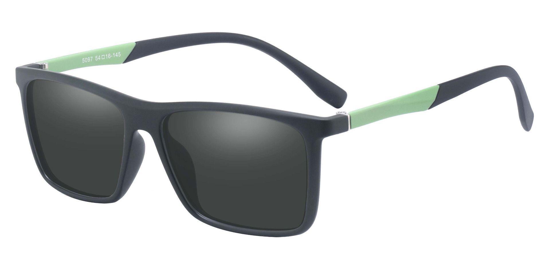 Cleveland Rectangle Prescription Sunglasses - Green Frame With Gray Lenses