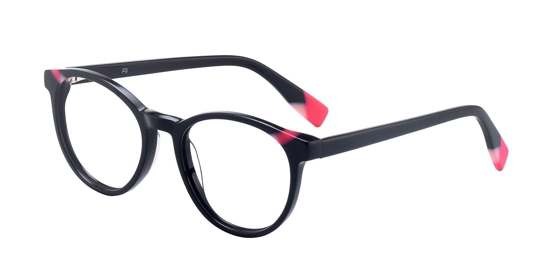 Odette Oval Progressive Glasses - The Frame Is Black And Red