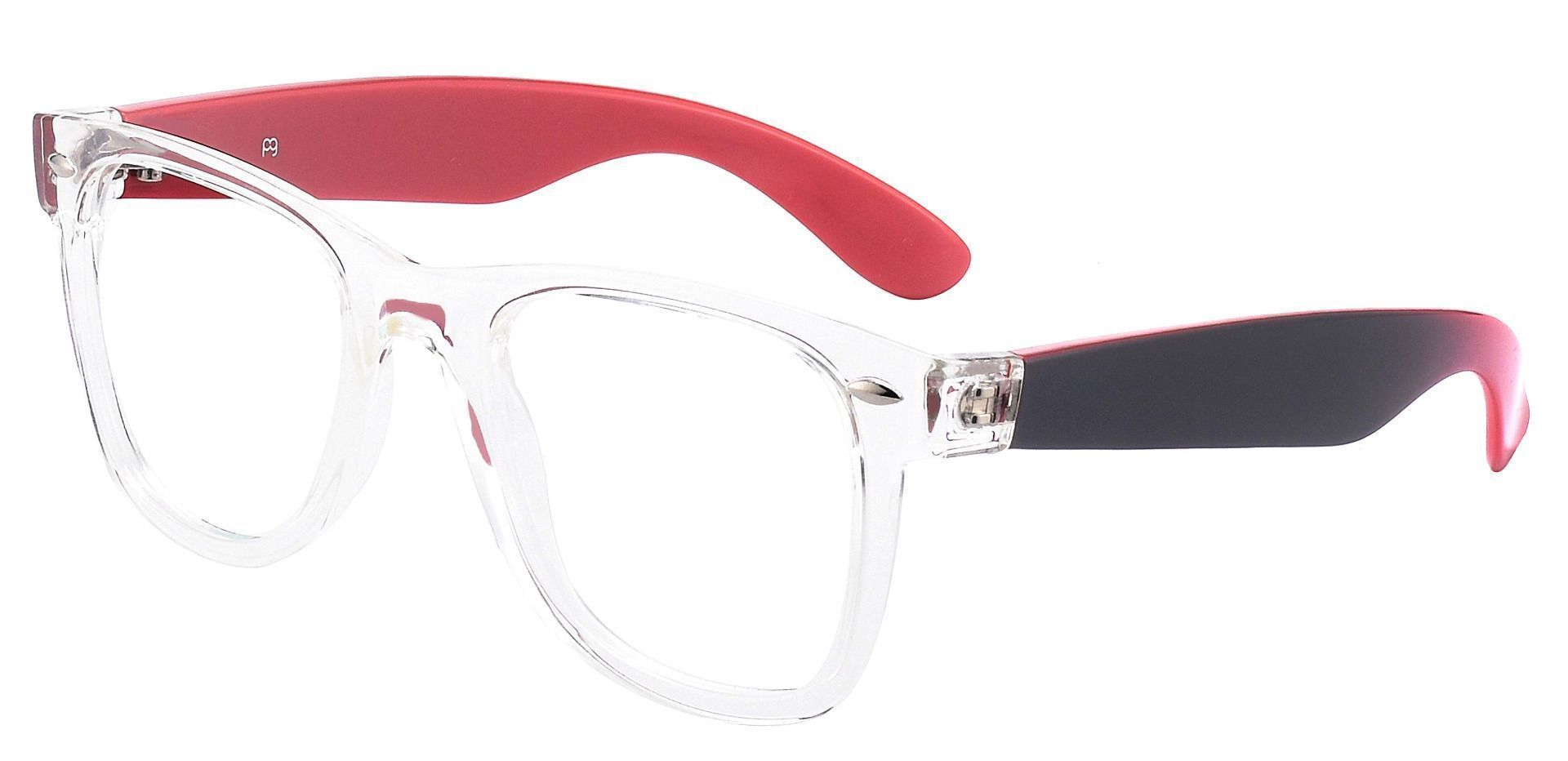 Adrian Square Prescription Glasses - The Frame Is Clear And Red