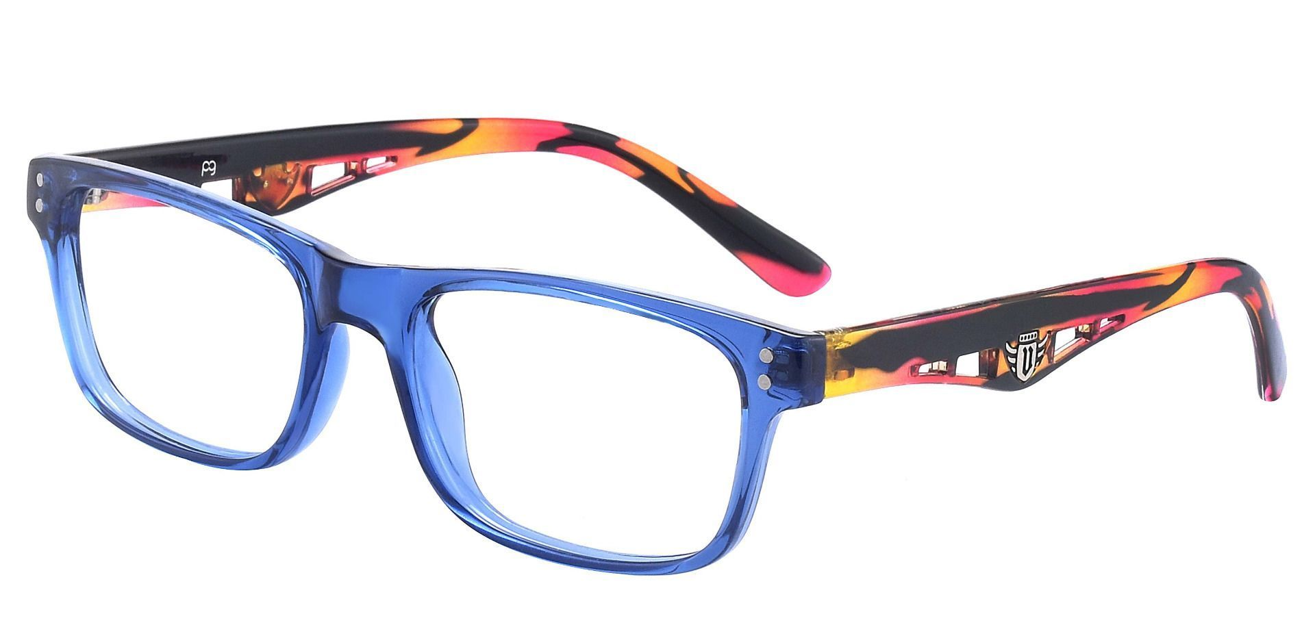 Aura Rectangle Prescription Glasses - The Frame Id Blue And Floral