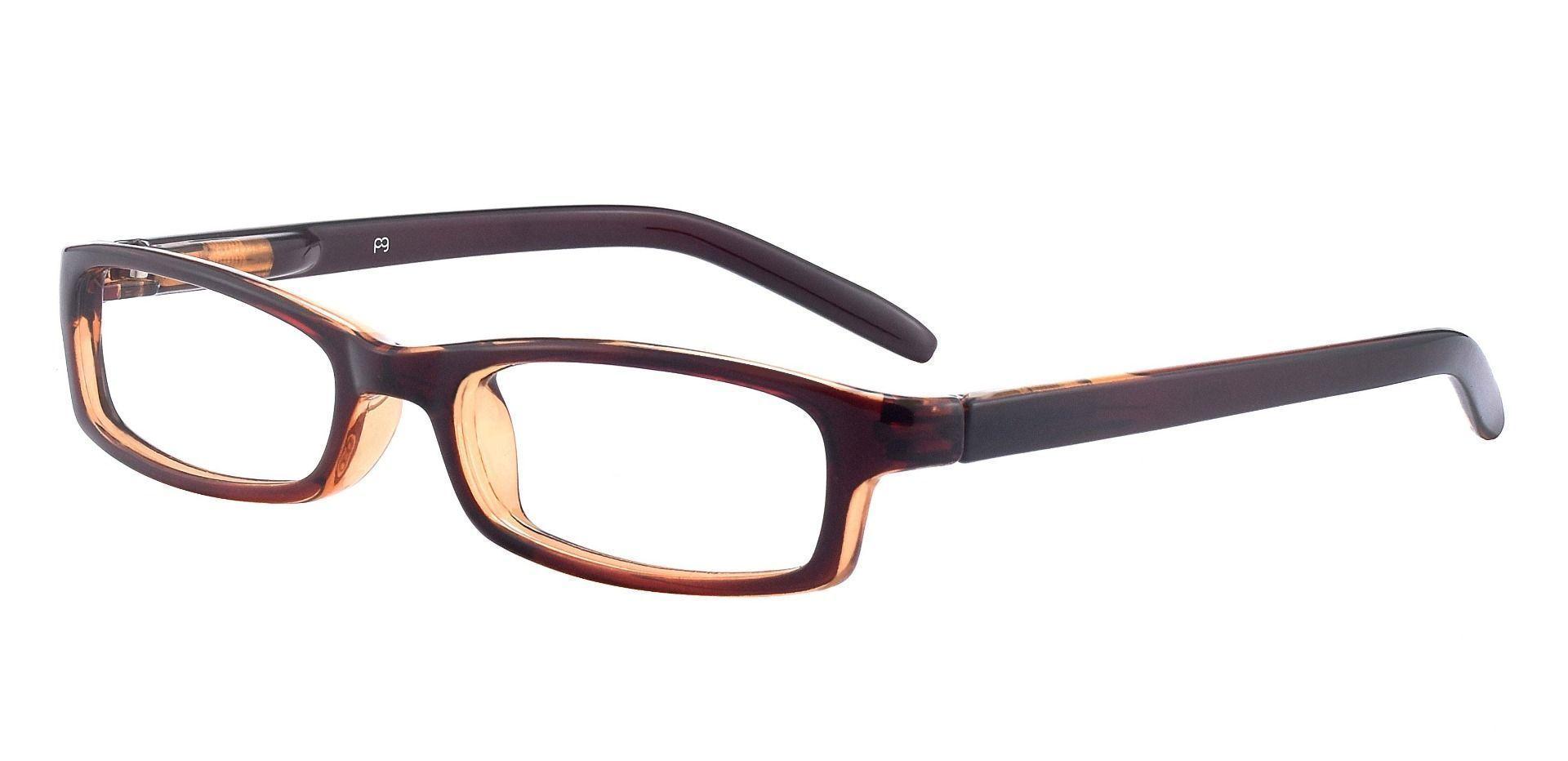 Palmer Rectangle Single Vision Glasses - Brown