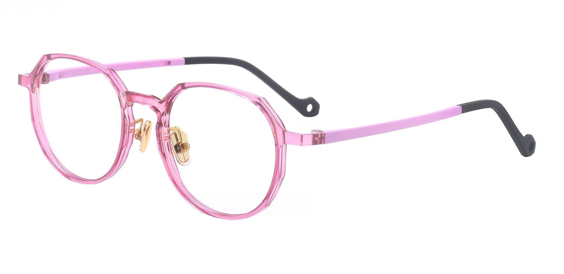 Everly Geometric Prescription Glasses - The Frame Is Pink And Black