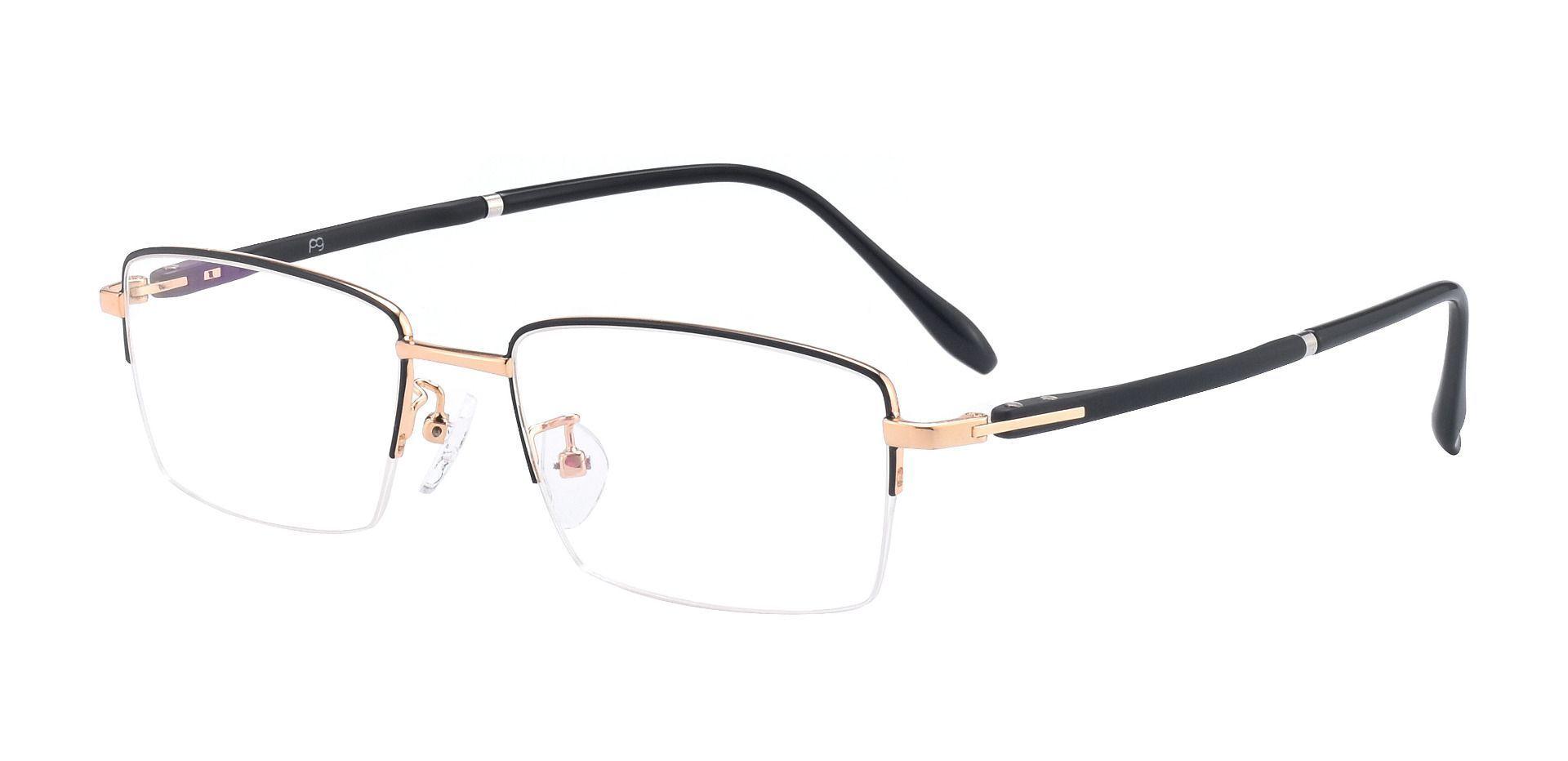 Roswell Rectangle Prescription Glasses - Black/gold