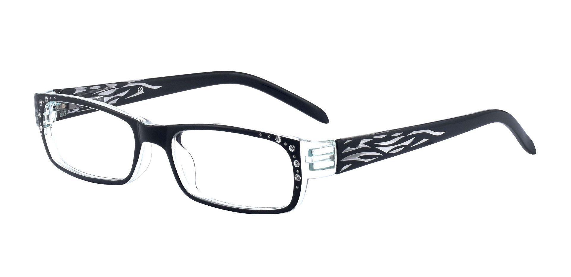 Diva Rectangle Single Vision Glasses - Black With Gems