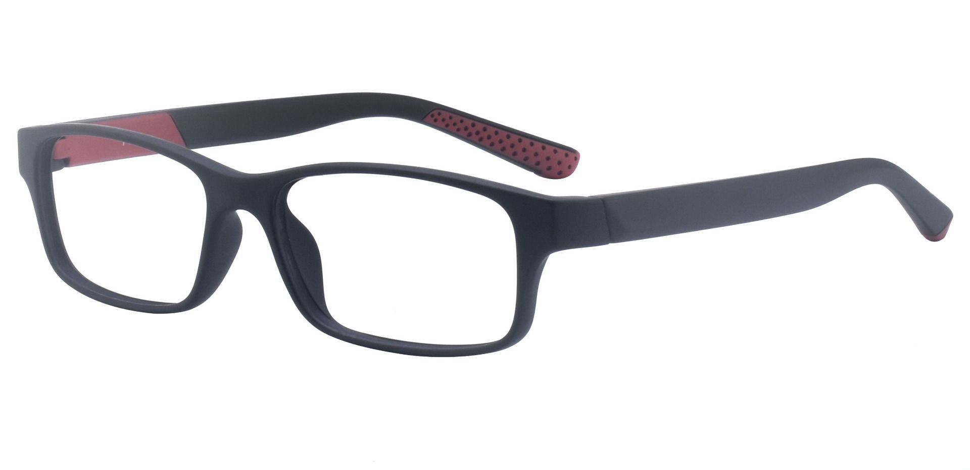 Meridian Rectangle Prescription Glasses - Matte Black/red