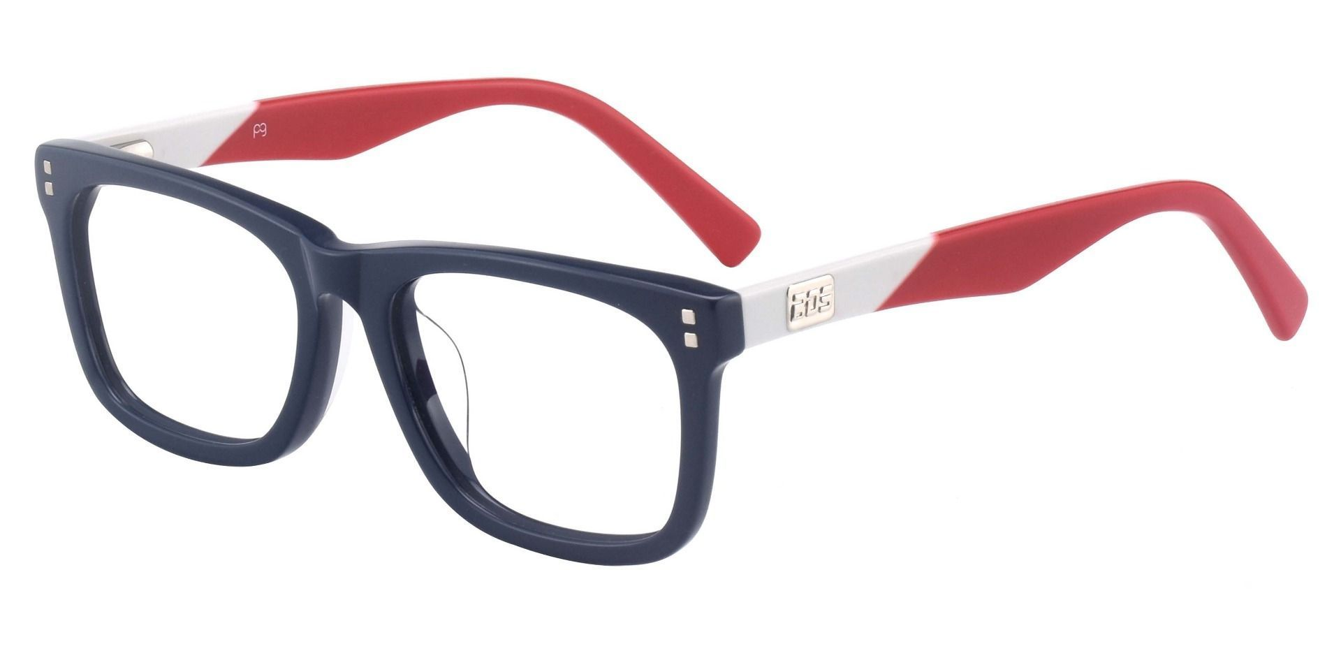 Harbor Rectangle Reading Glasses - The Frame Is Blue And Red
