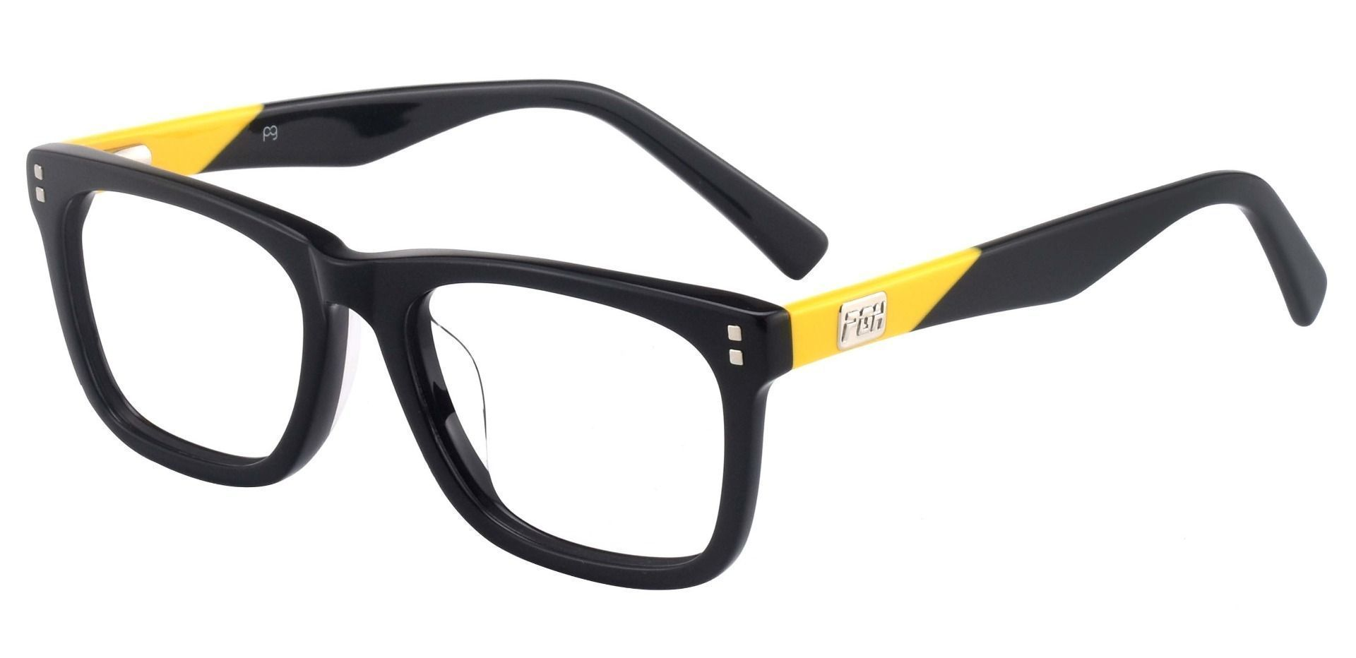 Liberty Rectangle Prescription Glasses - The Frame Is Black And Gold