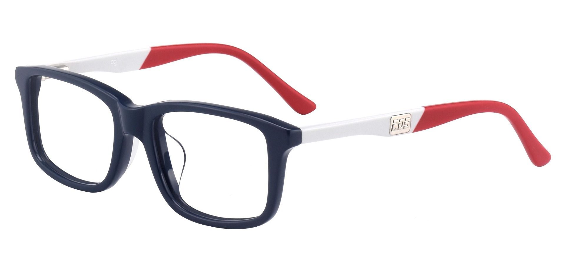 Titletown Rectangle Non-Rx Glasses - Blue White Red