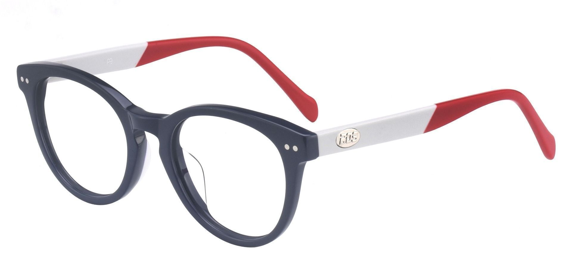 Revere Oval Eyeglasses Frame - The Frame Is Blue And Red