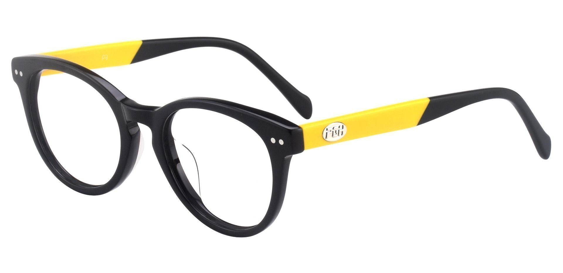 Oakland Oval Lined Bifocal Glasses - The Frame Is Black And Gold