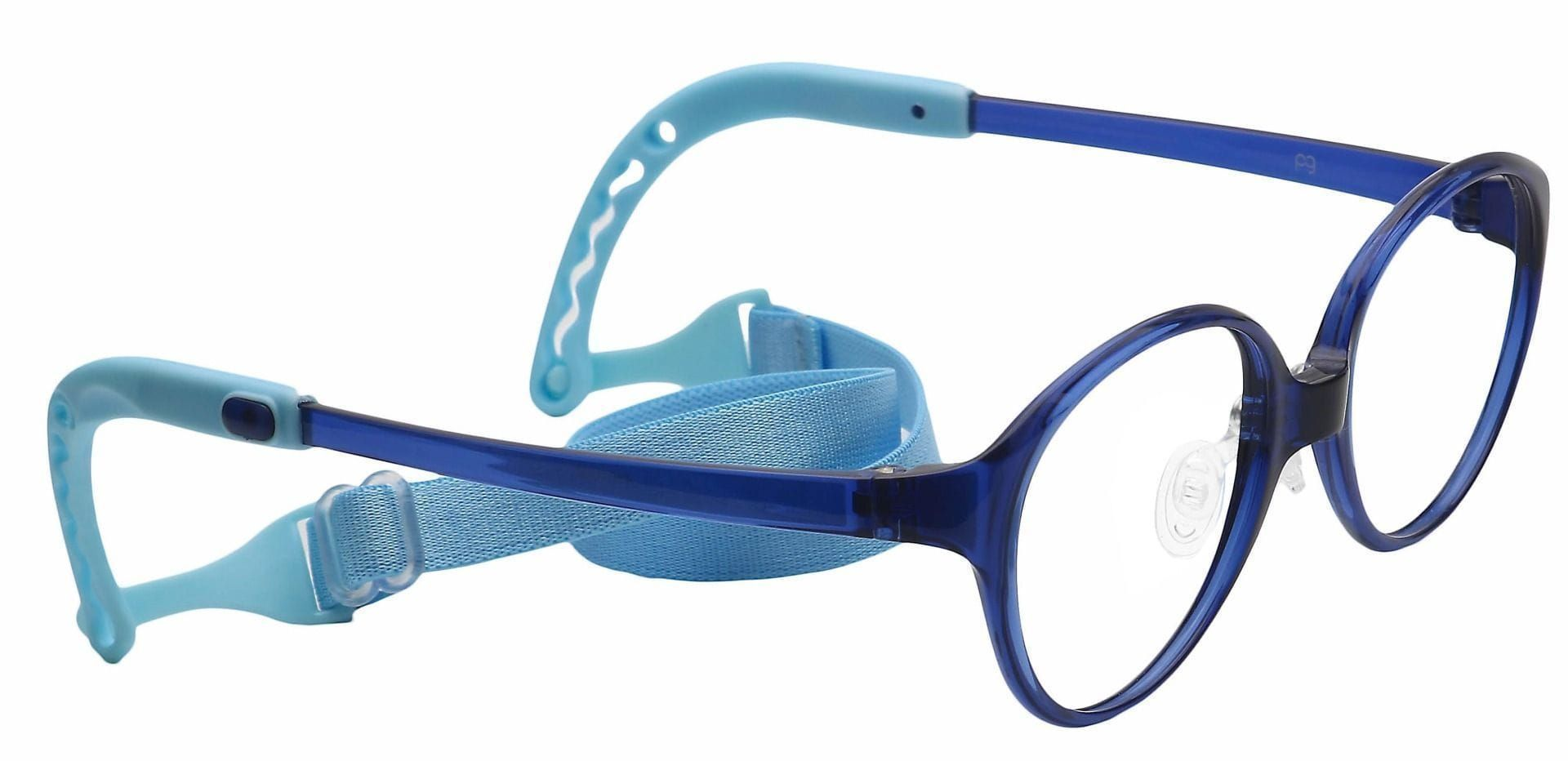 Zany Oval Non-Rx Glasses - Navy/turquoise