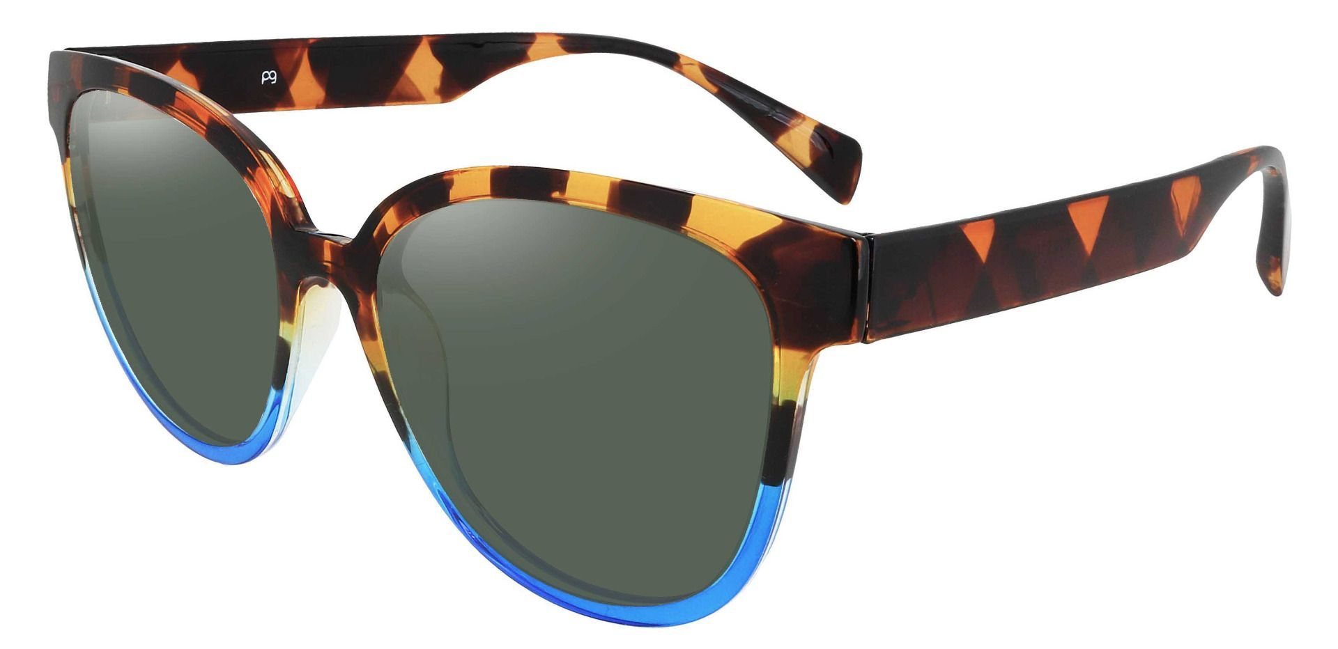 Newport Oval Non-Rx Sunglasses - Tortoise Frame With Green Lenses