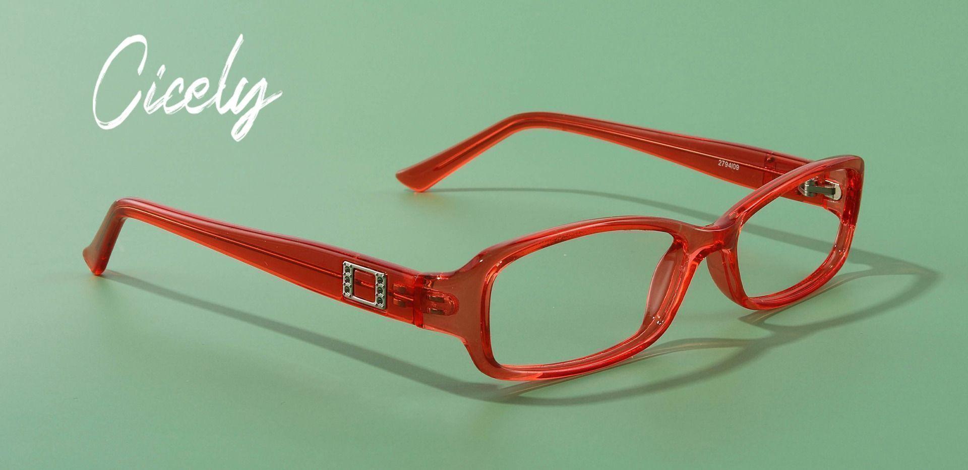 Cicely Rectangle Single Vision Glasses - Orange Crystal