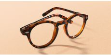 Vee Round Blue Light Blocking Glasses - Brown