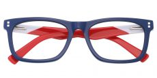 Harbor Rectangle Prescription Glasses - The Frame Is Blue And Red