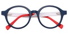 Dudley Round Prescription Glasses - The Frame Is Blue And Yellow