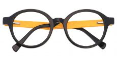 Champ Round Prescription Glasses - The Frame Is Black And Gold