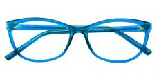 Sally Oval Blue Light Blocking Glasses - Turquoise Crystal