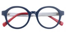 Roxbury Round Prescription Glasses - The Frame Is Blue And Red