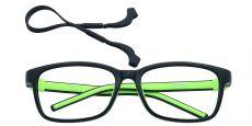 Rio Rectangle Single Vision Glasses - Black