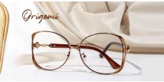 Origami Round Single Vision Glasses - Brown